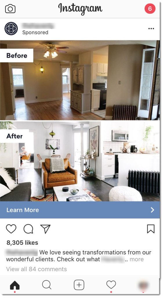 an instagram ad for remodelers: the contractor's new kitchen remodel project