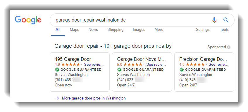 google local services ads results for garage door repair services