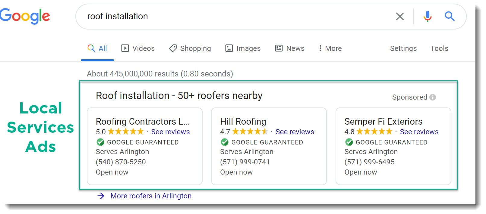 google local services ads for roofing conpanies