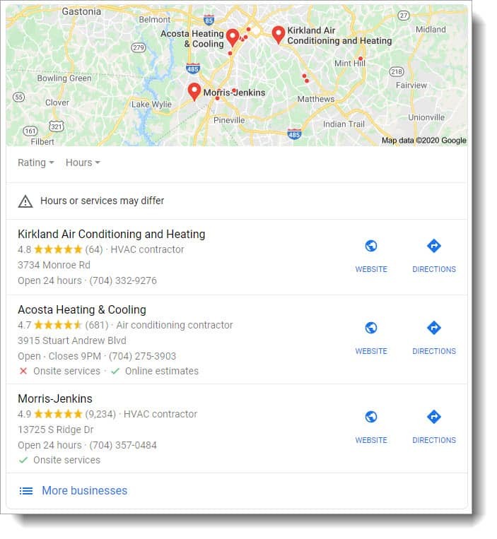 local seo services for home service companies - local pack